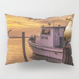 Fishing Boat and Gulls at Sunrise in Aransas Pass Harbor Pillow Sham