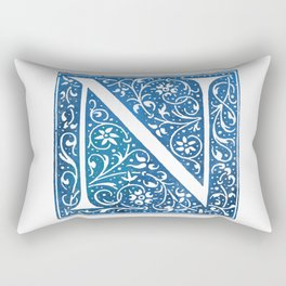 Letter N Antique Floral Letterpress Rectangular Pillow