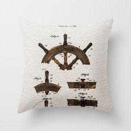 Ship steer wheel color Throw Pillow