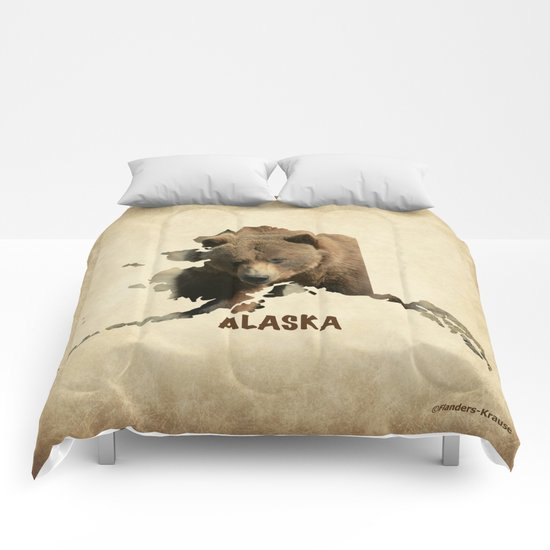 Alaskan Grizzly Map Comforters