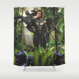 Huey Panther Newton Shower Curtain
