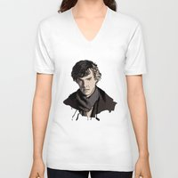 sherlock V-neck T-shirts featuring Sherlock by joshuahillustration