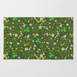 Yellow buttercup and daisies with wild strawberries on grass Rug