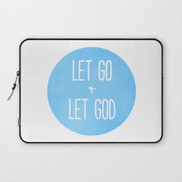 Let Go and Let God - Christian Typography Blue Laptop Sleeve