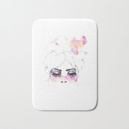 Speechless Girl - My pink sadness in watercolors Bath Mat