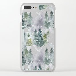 Artistic hand painted green white watercolor trees polka dots Clear iPhone Case