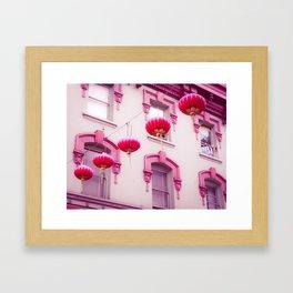 Pink Lanterns in the Wind Framed Art Print