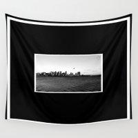 san diego Wall Tapestries featuring San Diego Skyline by Derek Delacroix