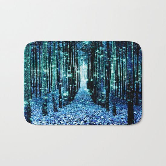 Magical Forest Teal Turquoise Bath Mat