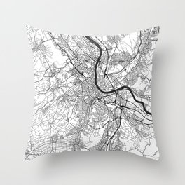 Basel Map Gray Throw Pillow