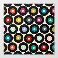 vinyl Canvas Prints featuring VINYL by Sharon Turner