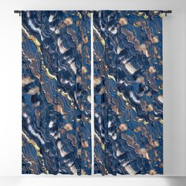 Blue marble with Golden streaks Blackout Curtain