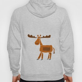 Funny Moose Primitive Artwork  Hoody