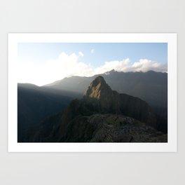 Sun setting on Machu Picchu and Huayna Picchu Art Print