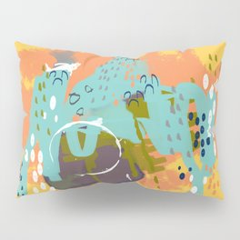 South of the Border, Abstract Gold Orange Mint Pillow Sham