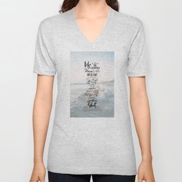 Life is Like a Camera Travel Photography Quote // Beach + Ocean Waves Background Unisex V-Neck
