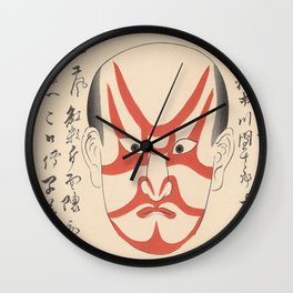 KABUKI Mask Traditional Make-Up Theatre Kanteiryu Red Wall Clock