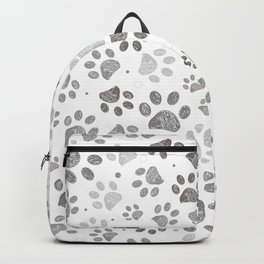 Doodle grey paw print seamless fabric design repeated pattern with grey background Backpack