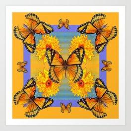 ORANGE-BLUE   BUTTERFLIES & YELLOW SUNFLOWERS Art Print