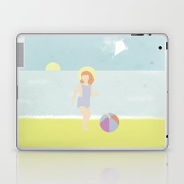 Girl at the beach with kite and ball in the 1950's vintage Laptop & iPad Skin