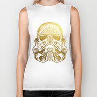 gold foil Biker Tanks featuring Mandala StormTrooper - Gold Foil by Spectronium - Art by Pat McWain