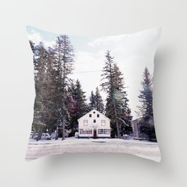 Tiny Cottage in the Middle of Banff Throw Pillow
