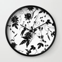Black and White Passion Flowers Pattern Wall Clock
