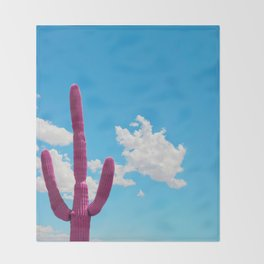 Pink Saguaro Against Blue Cloudy Sky Throw Blanket