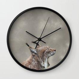 Lynx Yawning, Grunge Cloudy Sky Wall Clock