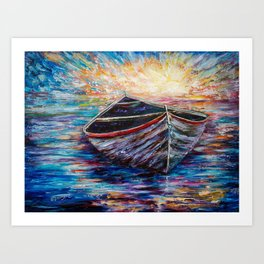 Wooden Boat at Sunrise my Painting with a Palette Knife Art Print