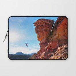 Rock Climber Swinging at Red Rock Canyon Laptop Sleeve