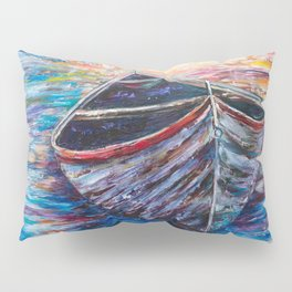 Wooden Boat at Sunrise - original oil painting with palette knife #society6 #decor #boat Pillow Sham