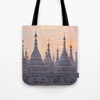 buddhism Tote Bags featuring Sandamani Pagoda, Mandalay, Myanmar by Maria Heyens