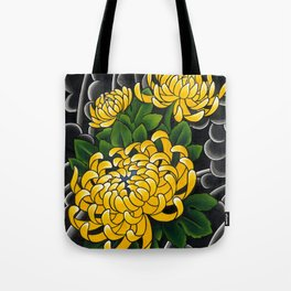 Japanese tattoo style sumi ink wash and watercolor chrysanthemum   Tote Bag
