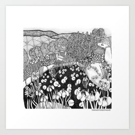 Zentangle Vermont Landscape Black and White Illustration Art Print