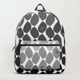 Modern Abstract Ombre Leaf Pattern Black Gray Gold Backpack