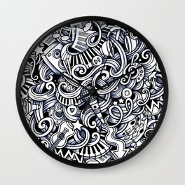 Music doodle pattern Wall Clock