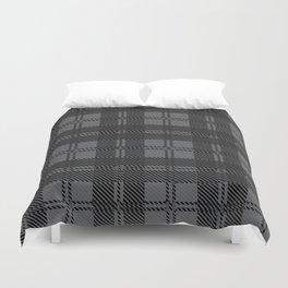 Grey Check Tartan Wool Material Duvet Cover