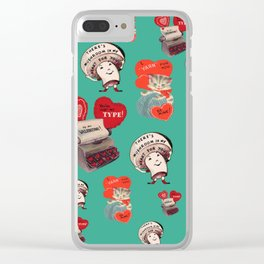 Cheesy Vintage Valentine's Day Card Pattern on Teal Clear iPhone Case