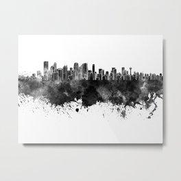 Calgary skyline in black watercolor on white background Metal Print