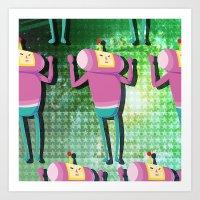 katamari Art Prints featuring Katamari Cousins - Macho by cakeisforrobots