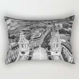 Black and White London Aerial View - United Kingdom Rectangular Pillow