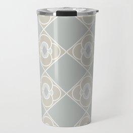 Dove Grey Quatrefoil Diamond Pattern Travel Mug