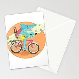 hammered hammerhead heading out to surf Stationery Cards