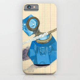 Blue Crystal Inkwell and Dip Pen in Gouache iPhone Case