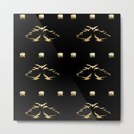 Gold Swallows on Black Background Pattern Metal Print