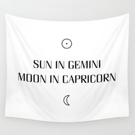 Gemini/Capricorn Sun and Moon Signs Wall Tapestry