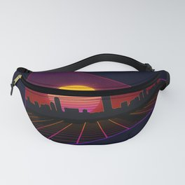 Sunset over a city in Synthwave style Fanny Pack