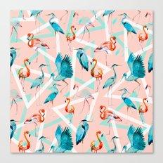 Pattern flamingos & triangles Canvas Print
