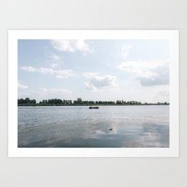 Hoeksche waard, the Netherlands   holland nature Nederland skies summer blue soft color photo Art Print